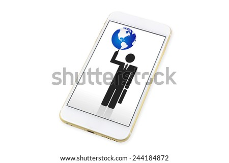 Smartphone with business man with world  icon on display. isolated on White background - stock photo