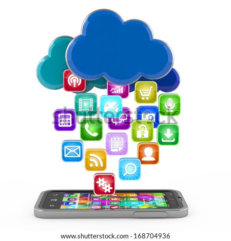 Smartphone with cloud of application icons isolated