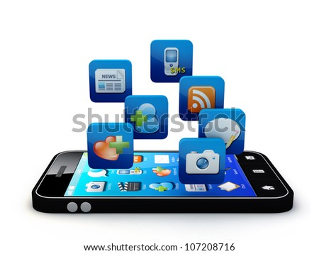 Smartphone with cloud of application icons  Note: All Devices design and all screen interface graphics in this series are designed by the contributor him self. - stock photo