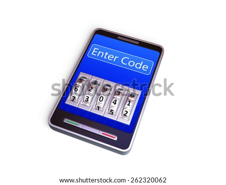 Smartphone with code lock. 3d render. Isolated on white - stock photo