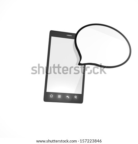 Smartphone with empty cloud - stock photo