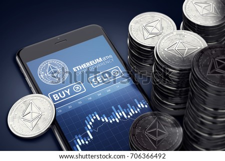 Smartphone with Ethereum trading chart on-screen among piles of Ether. Ethereum trading concept. 3D rendering