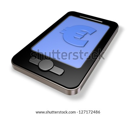 smartphone with euro symbol - 3d illustration