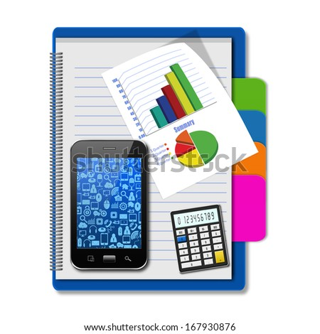 Smartphone with graphs and calculator on notebook,creative business