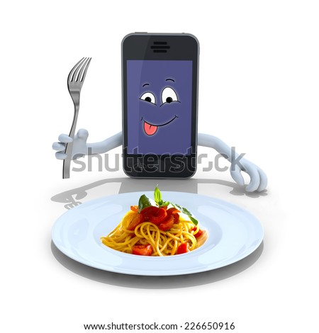 smartphone with hands, fork on hand and face cartoon in front of a spaghetti plate, 3d illustration - stock photo