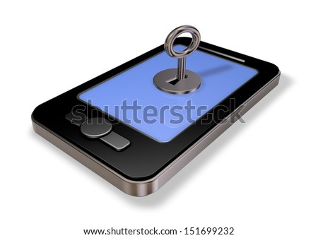 smartphone with leyhole on white background - 3d illustration - stock photo