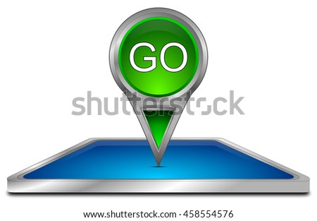 Smartphone with Map pointer Go - 3D illustration - stock photo