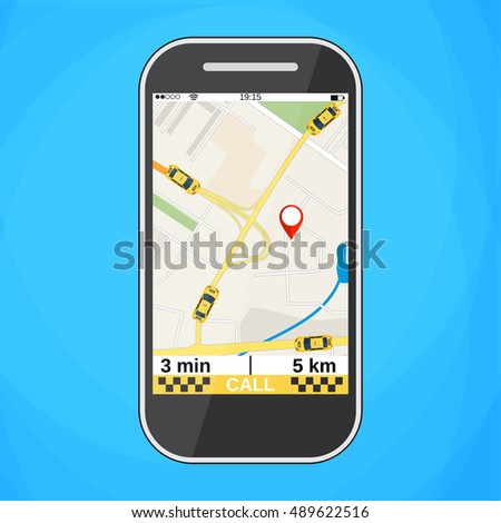 Smartphone with taxi service application on a screen. Taxi ordering interface. illustration in flat design Raster version