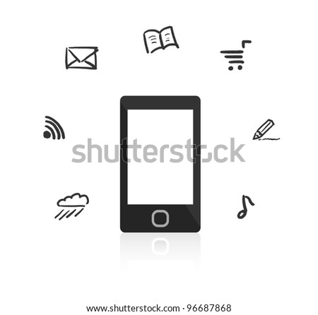 Smartphone with touch screen. Around the device hand-drawn icons. - stock photo