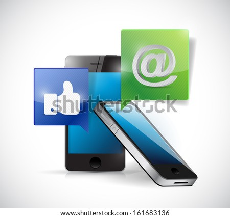 smartphones connected to a social media illustration design over a white background - stock photo