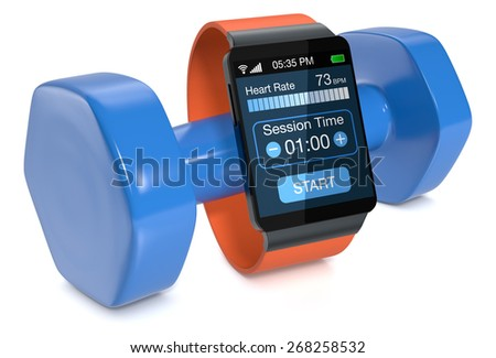 smartwatch with fitness app and a dumbbell, on white background (3d render) - stock photo