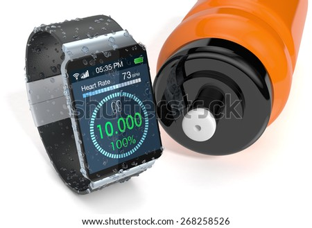 smartwatch with fitness app, covered of water drops and a water bottle, on white background (3d render) - stock photo