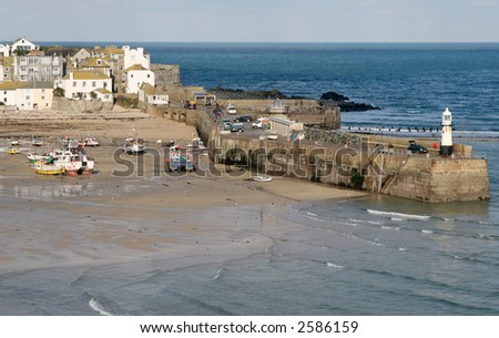 Smeaton's pier and the harbor, St. Ives, Cornwall. - stock photo