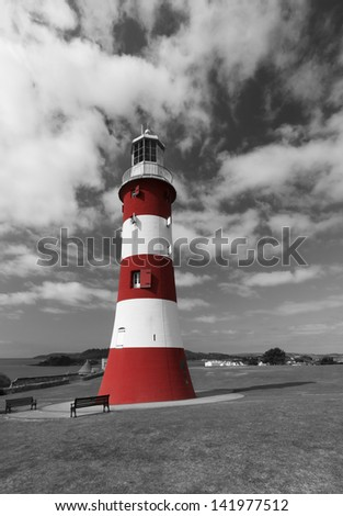 Smeaton's Tower on Plymouth Hoe is the third and most notable Eddystone Lighthouse. It marked a major step forward in the design of lighthouses. - stock photo