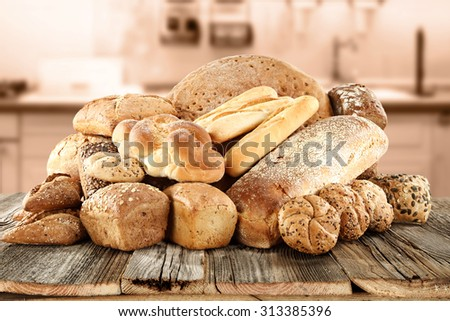 smell of fresh bread in kitchen and kitchen interior  - stock photo