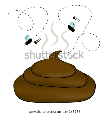 Smelly poop with flies - stock photo