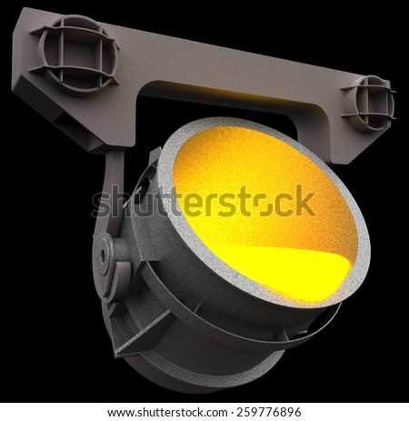 Smelting metal in the ladle, 3d render isolated on black - stock photo