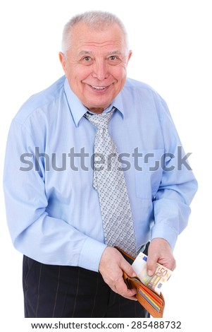 Smile and Happy old senior businessman in tie put money of euro in leather wallet. isolated on white background. Positive human emotion, facial expression - stock photo