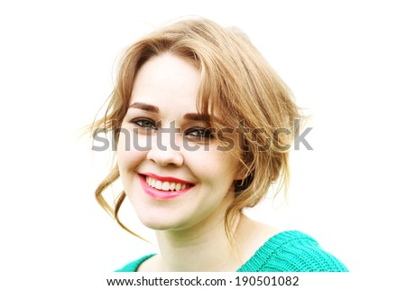 Smile blonde girl on a white background