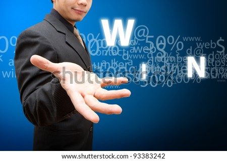 Smile Business man and win - stock photo