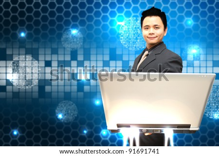 Smile business man notebook computer and digital background