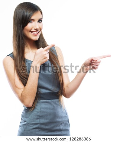 Smile Business woman show fingers . Long hair model isolated . - stock photo