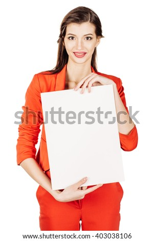 Smile Business woman wearing in red suit and holding a white board with empty copy space. image on a white studio background. business and lifestyle concept - stock photo