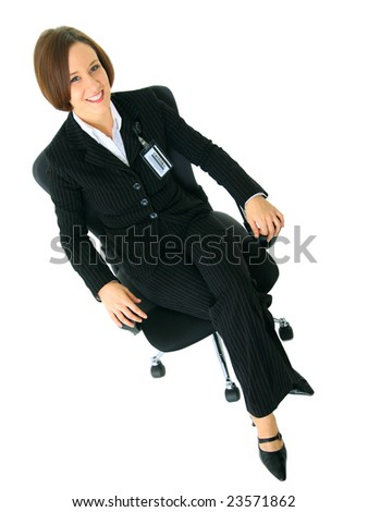 smile businesswoman sit on chair looking up. isolated on white