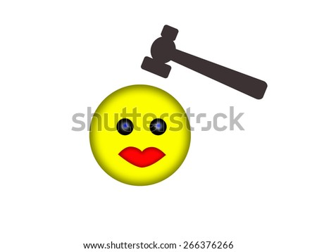 Smile face hit with a hammer - stock photo