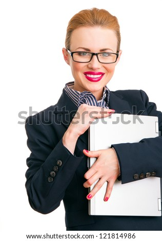 Smile happy business woman holding laptop, isolated on white. Close-up - stock photo