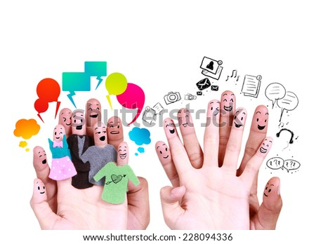 smile human by fingers for symbol of social network  - stock photo