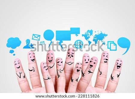 smile human finger  for symbol of social network  - stock photo