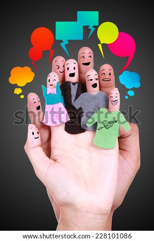 smile human for symbol of social network by fingers - stock photo