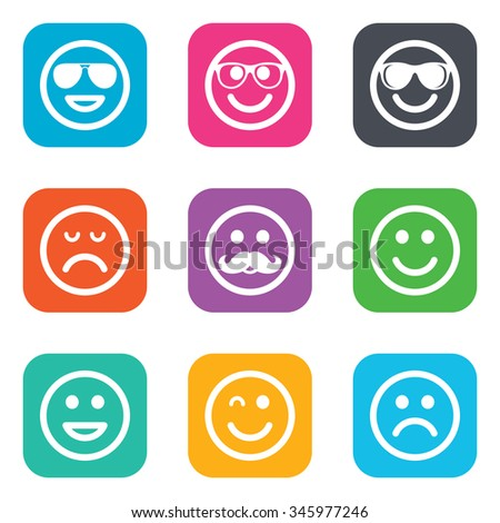 Smile icons. Happy, sad and wink faces signs. Sunglasses, mustache and laughing lol smiley symbols. Flat square buttons.  - stock photo