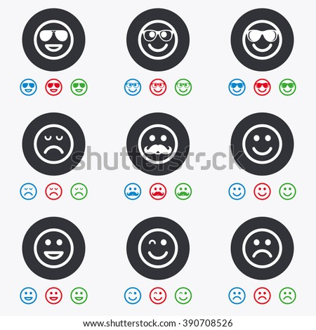 Smile icons. Happy, sad and wink faces signs. Sunglasses, mustache and laughing lol smiley symbols. Flat circle buttons with icons. - stock photo