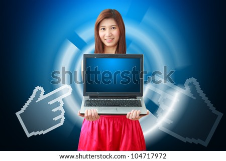 Smile lady and digital hand point to notebook computer