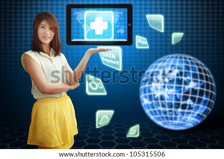 Smile lady and First Aid icon on tablet pc : Elements of this image furnished by NASA - stock photo