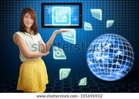 Smile lady and News icon on digital touch pad : Elements of this image furnished by NASA - stock photo