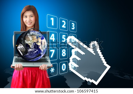 Smile lady and world of communication with dial number : Elements of this image furnished by NASA