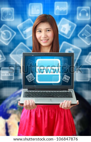 Smile lady and WWW icon : Elements of this image furnished by NASA - stock photo