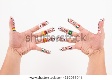 Smile on hands  - stock photo