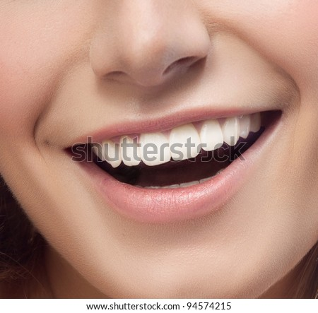 smile on woman close up - stock photo