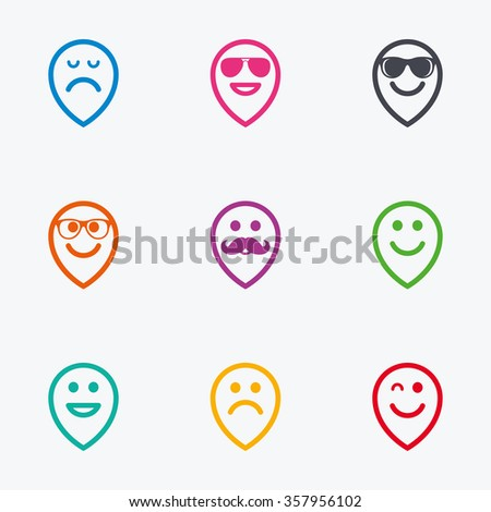 Smile pointers icons. Happy, sad and wink faces signs. Sunglasses, mustache and laughing lol smiley symbols. Flat colored graphic icons. - stock photo