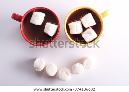smile shape chocolate drink and marshmallows on white background - stock photo