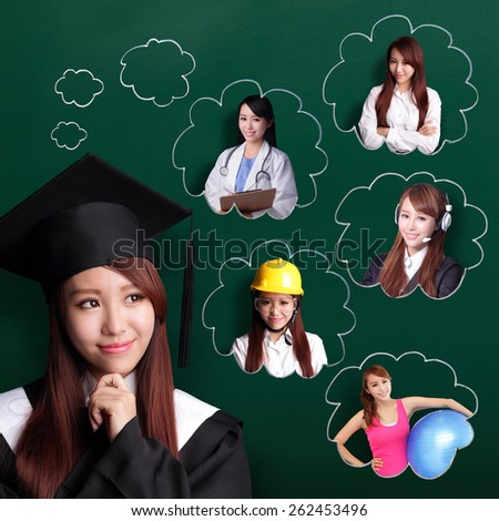 Smile student woman graduating and think her future and job, asian beauty - stock photo