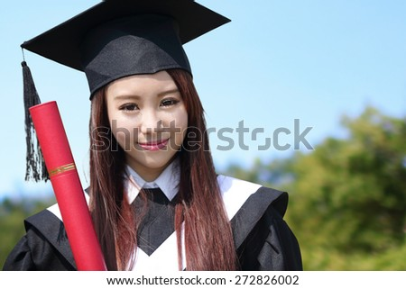 Smile student woman graduating in the campus, asian beauty