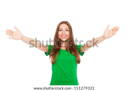 smile teenage excited girl raised up palms arms hands at you, isolated over white background concept of freedom happy student, young pretty woman asking us to come up hug - stock photo