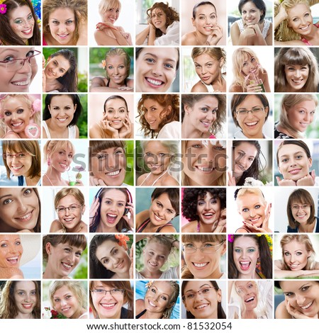 Smile theme collage composed of different images - stock photo