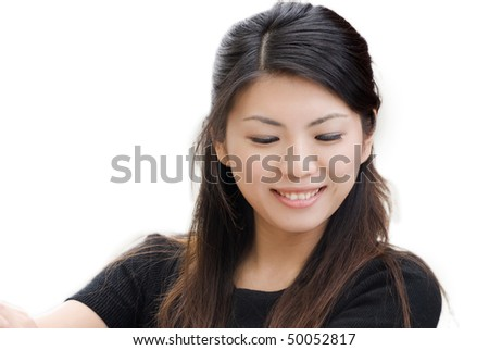 Smile woman of Asian portrait on white background. - stock photo