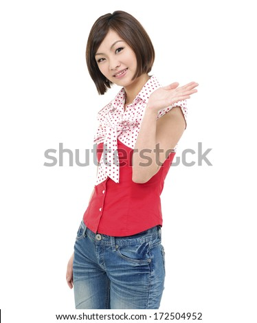 Smile woman showing something on the palm of her hand - stock photo